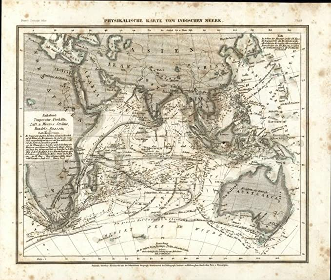 Amazon.com: Pacific Ocean currents flows c.1850 Meyer scarce ...