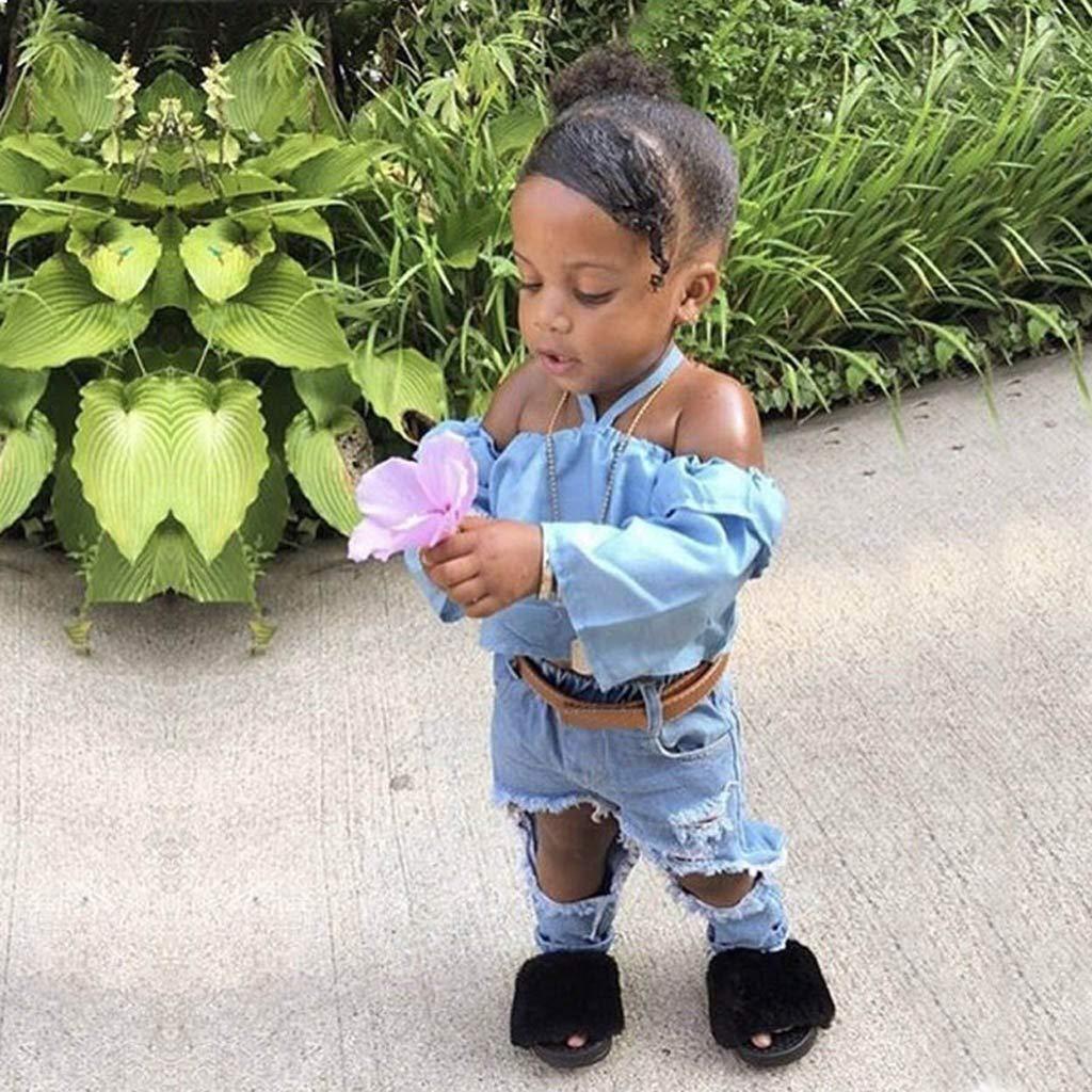 Sameno Toddler Kids Baby Girl Condole Belt Off Shoulder Tops+Jeans Pants Outfits Set