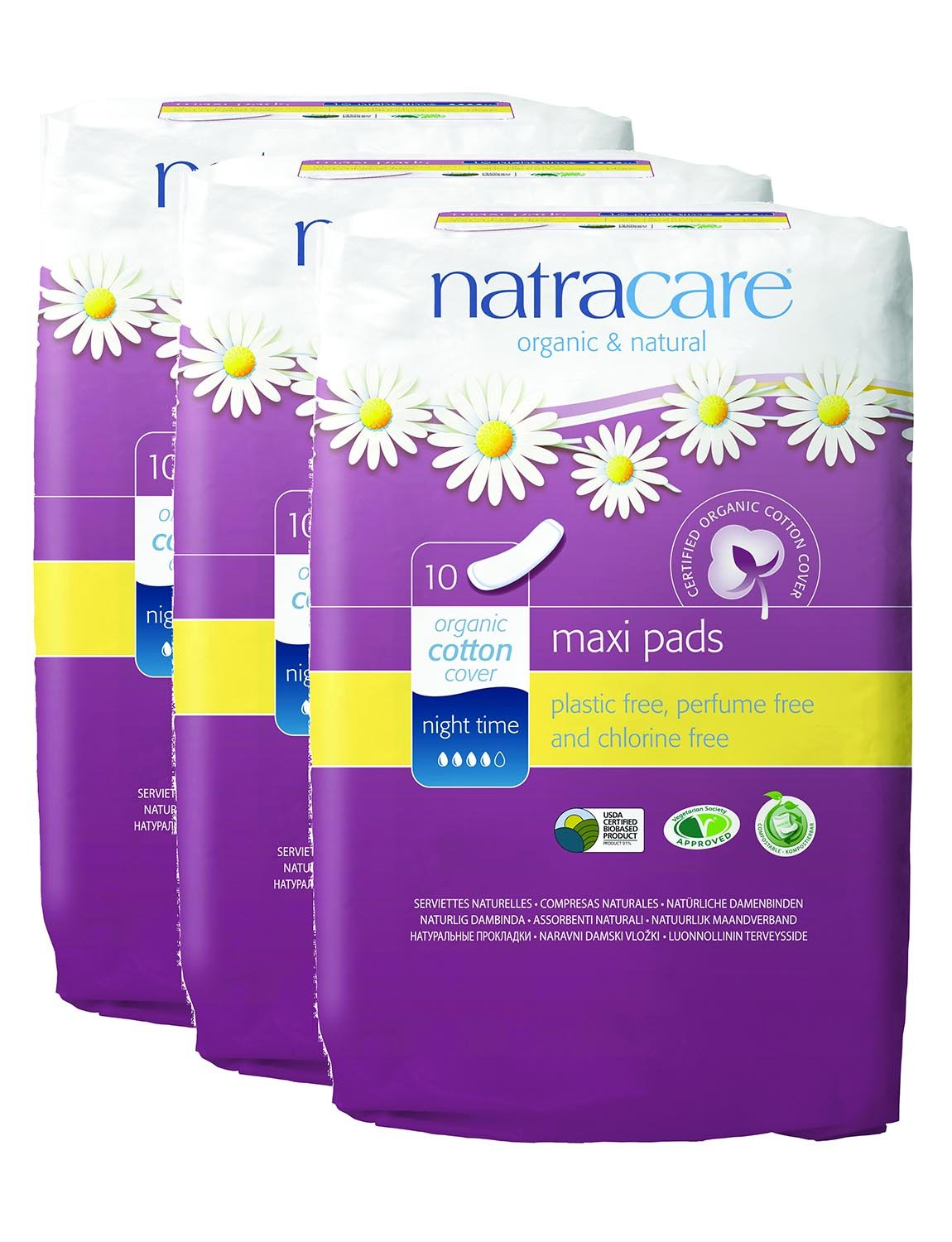 PACK of 3 Natracare Nightime Towels