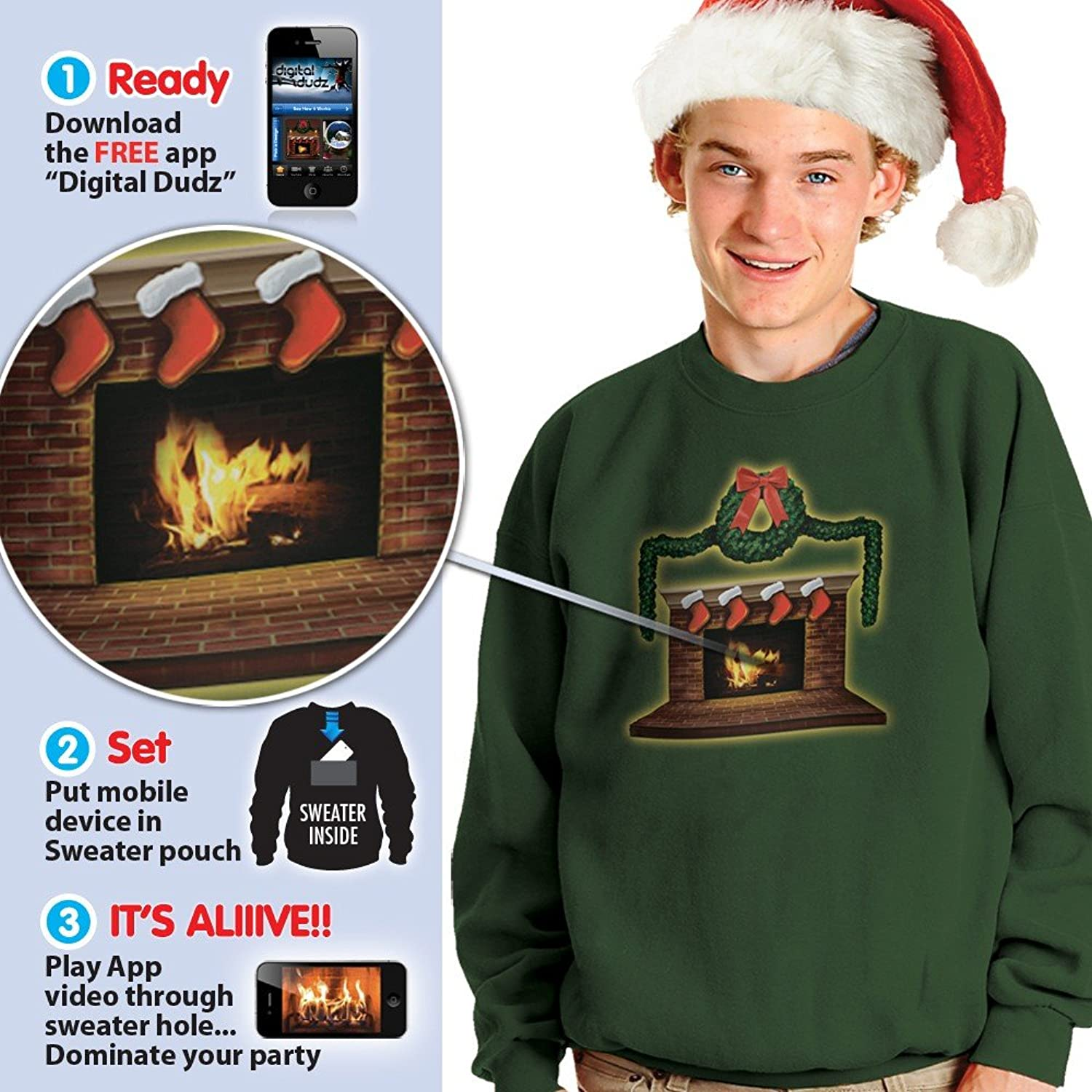 Amazon.com: Morphsuits Digital Dudz Fireplace Ugly Christmas ...