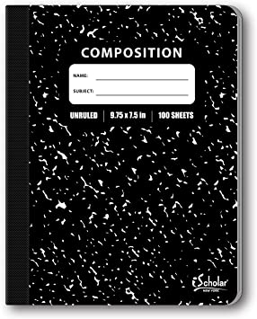 9.75 x 7.5-Inches Unruled Black Marble Cover 100 Sheets iScholar Composition Book 13100 100 Sheets