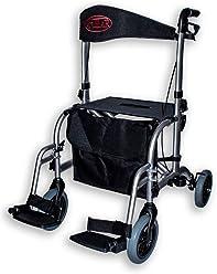 FabaCare Hybrid-Rollator AT51005 Aluminium, Premium Rollator und Rollstuhl in einem, Transportstuhl, faltbar, mit Spezialversiegelung