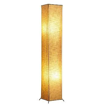 Yinleader - Lámpara de pie moderna de 62 pulgadas, con pantalla de tela de lino y 2 bombillas E27 para salón