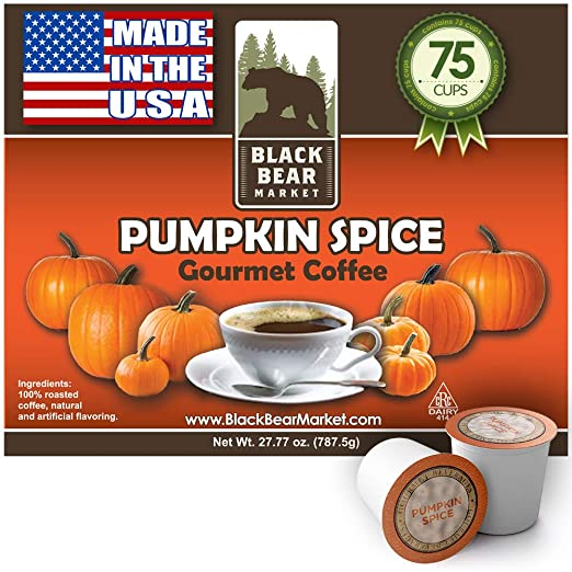 Black Bear Market Pumpkin Spice Coffee For Keurig Type K Cups Brewers – 75 Count Single Serve Cups Pods