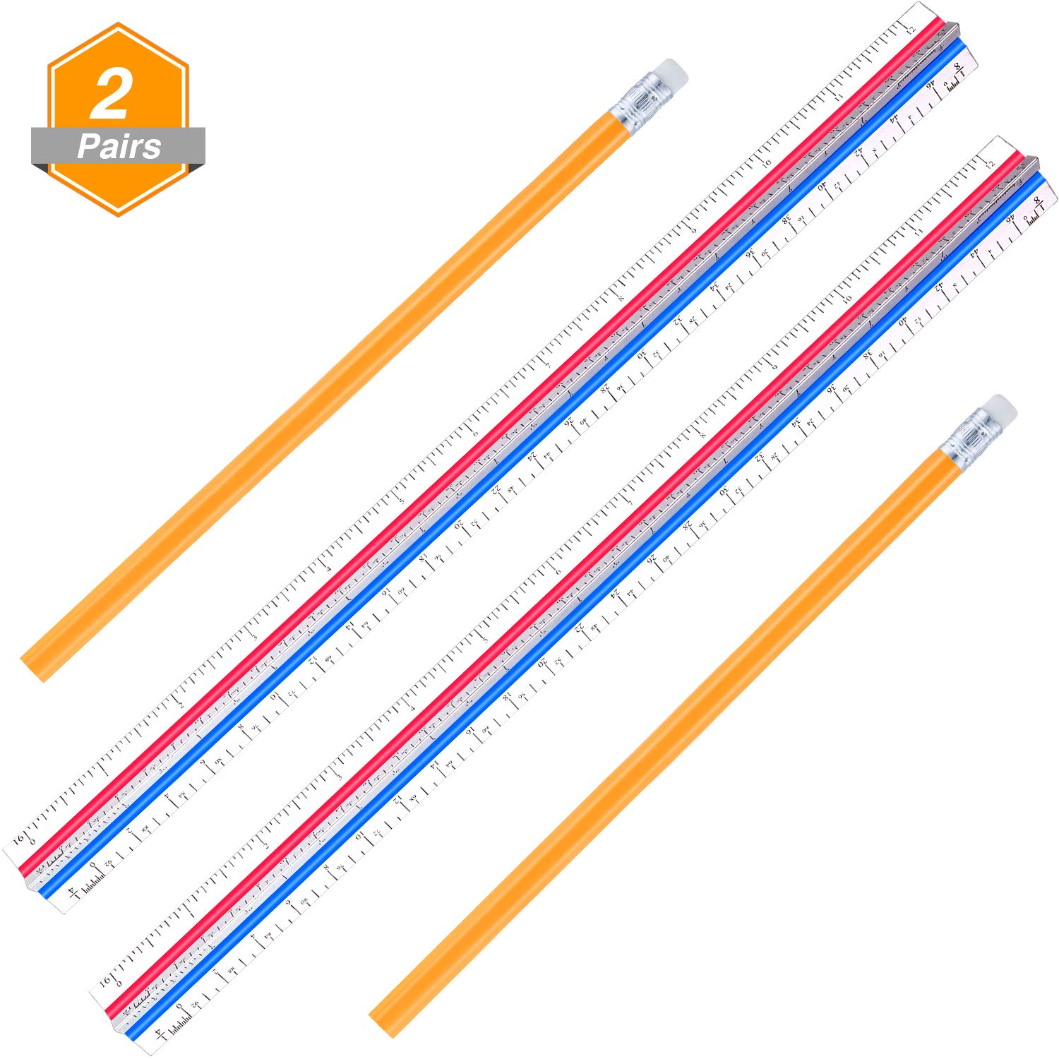 Gejoy 2 Pack 12.8 Inch Aluminum Triangular Architect Scale Ruler Color Coded Architectural Scale with 2 Pack Pencils for Architects, Engineers, Draftsman and Students