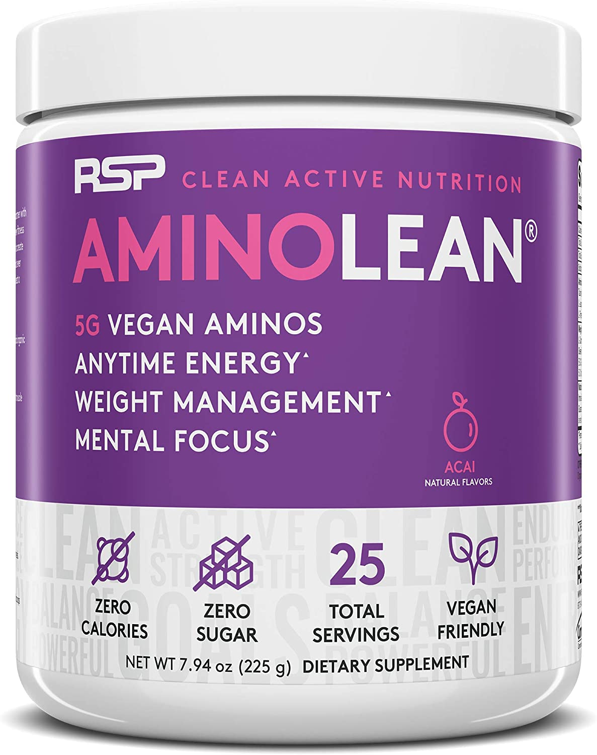 RSP Vegan AminoLean - All Natural Preworkout with Vegan BCAAs, All-In-One Amino Energy, Weight Management, Recovery, and Focus, 25 Serv, Acai: Health & Personal Care