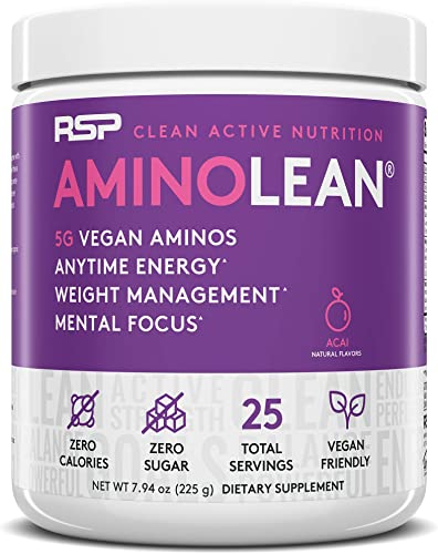 RSP Vegan AminoLean – All Natural Preworkout with Vegan BCAAs, All-In-One Amino Energy, Weight Management, Recovery, and Focus, 25 Serv, Acai