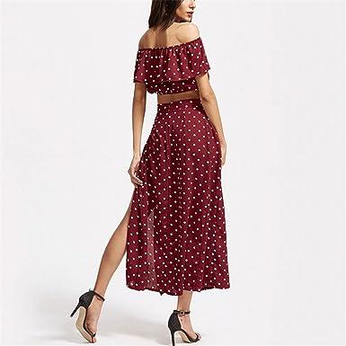 Amazon.com: Xanthedoris Fora do ombro duas peças set imprimir Mulheres longas do vestido lado divisão maxi vestido vermelho plissado vestido sexy Chic ...