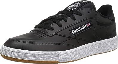 reebok club c leather trainers in black