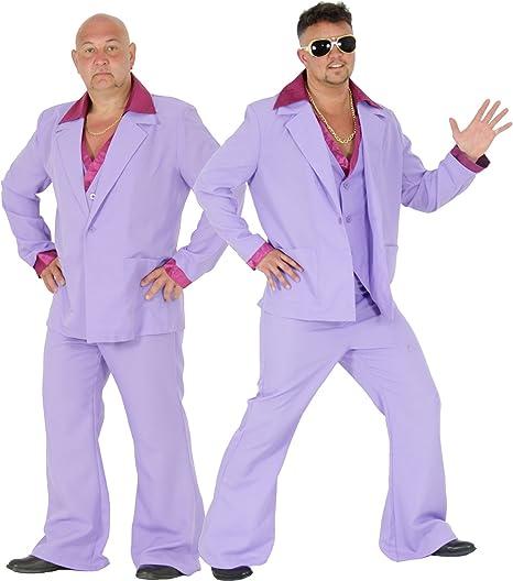 Foxxeo Disfraz de Traje de Discoteca púrpura de los años 70 para ...