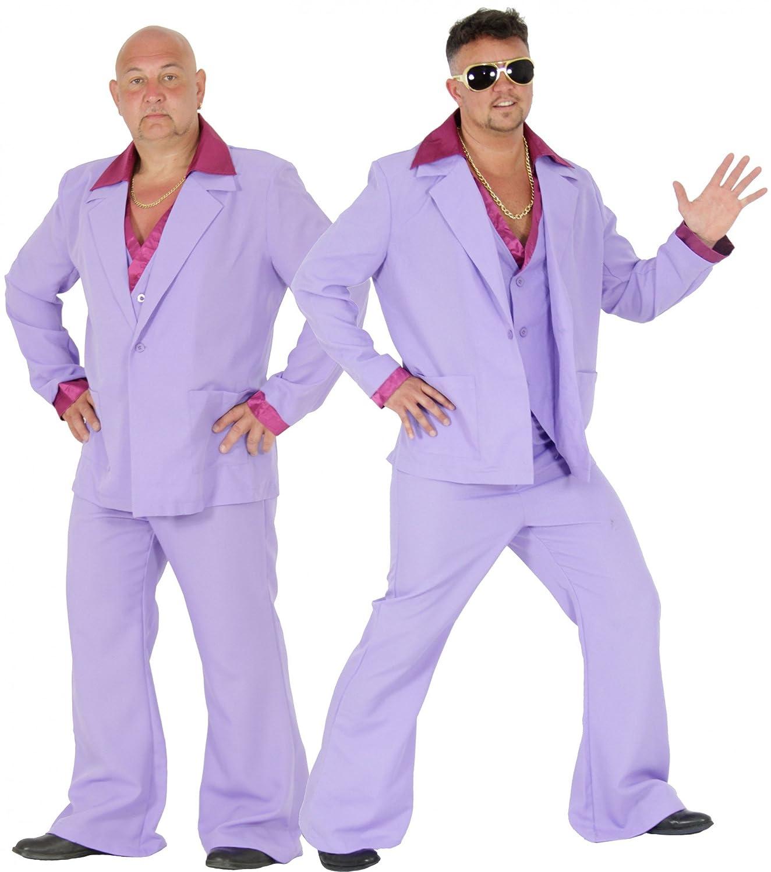 Foxxeo Disfraz de Traje de Discoteca púrpura de los años 70 ...