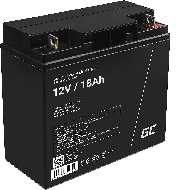 Green Cell® Recambio de Batería AGM (12V 18Ah VRLA Faston F2) Pila sellada de Plomo Acido Recargable Sealed Lead Acid VRLA para alarmas de hogar, Juguetes electricos, Sistemas UPS USV, Solarpanel