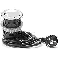 Allocacoc 264002 Enchufe de Mesa empotrable Schuko + USB, Kunststoffdeckel