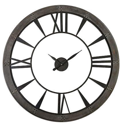 Rustic Round Iron Bronze Wood Wall Clock