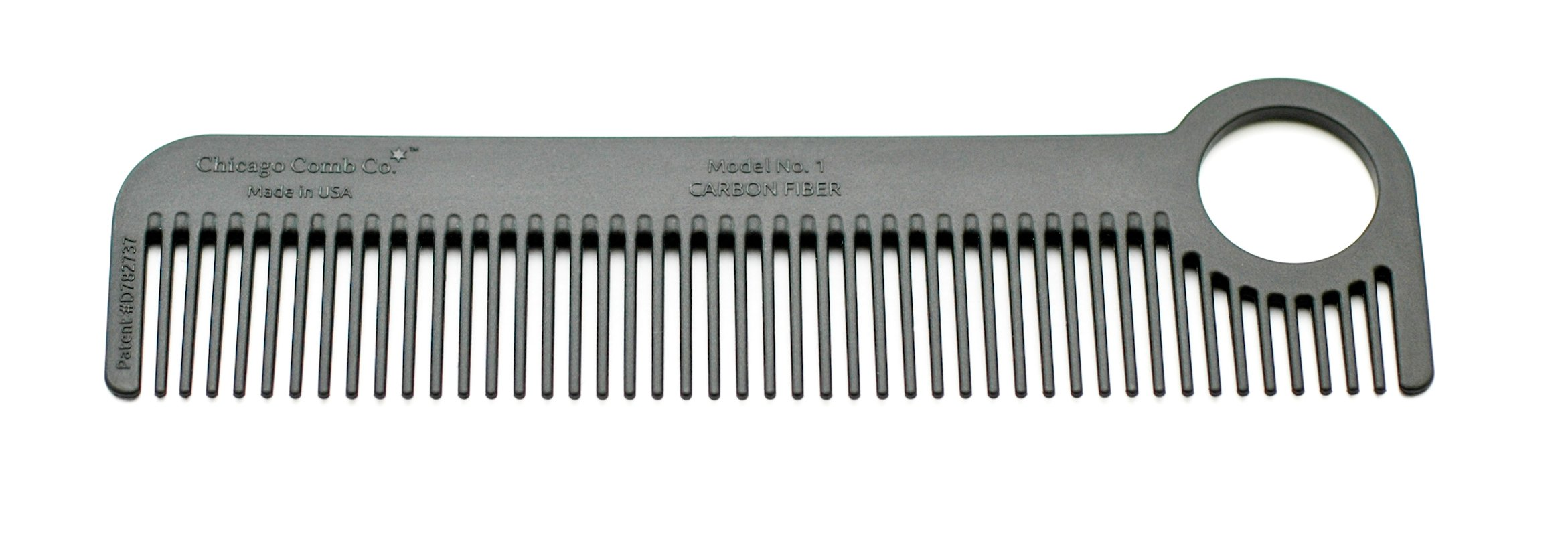 Chicago Comb Model 1 Carbon Fiber, Made in USA, ultra smooth, strong, and light, anti-static, heat-resistant, 5.5 inches (14 cm) long, ultimate daily use, pocket, and travel comb by Chicago Comb