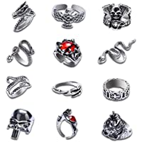 Buufan 12PCS Vintage Adjustable Punk Rings Set Silver Black Dragon Snake Claw Alloy Gothic Stackable Open Rings for…