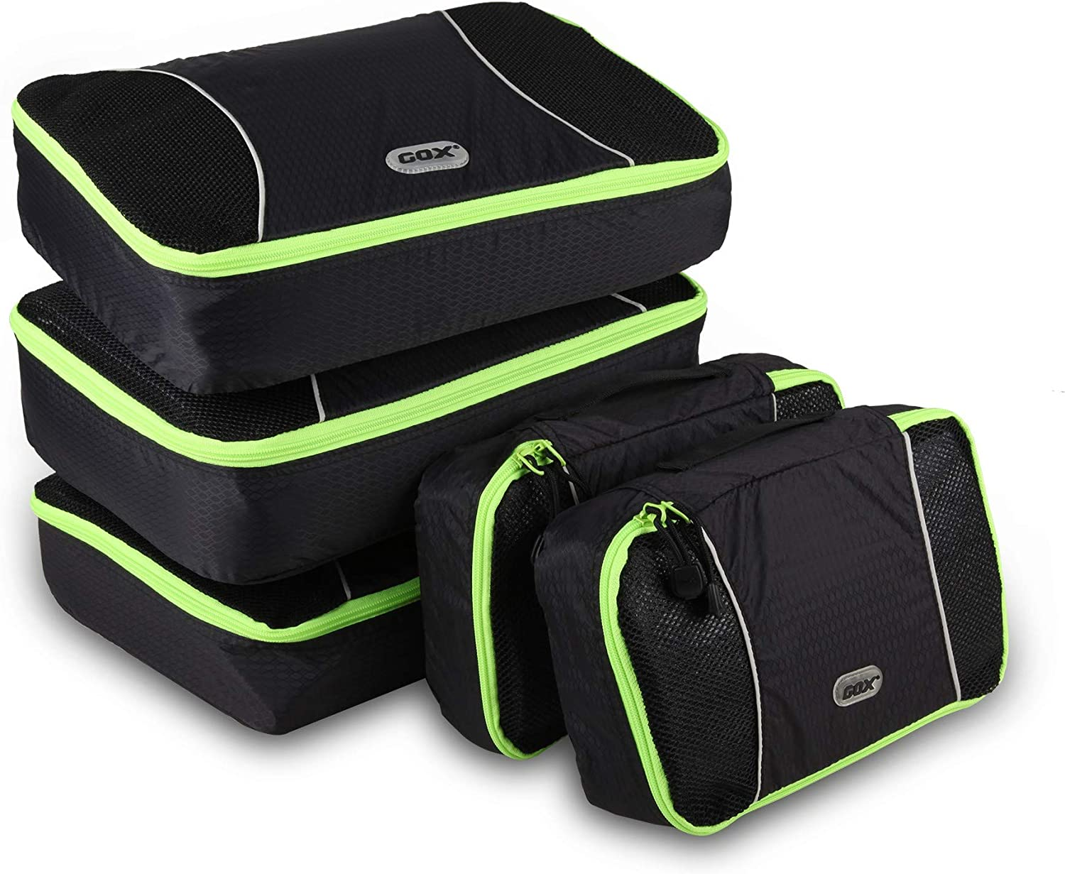 GOX Ultra Light 5 piece Packing Cubes Travel Luggage Organizers 3 Medium 2 Small (Black)