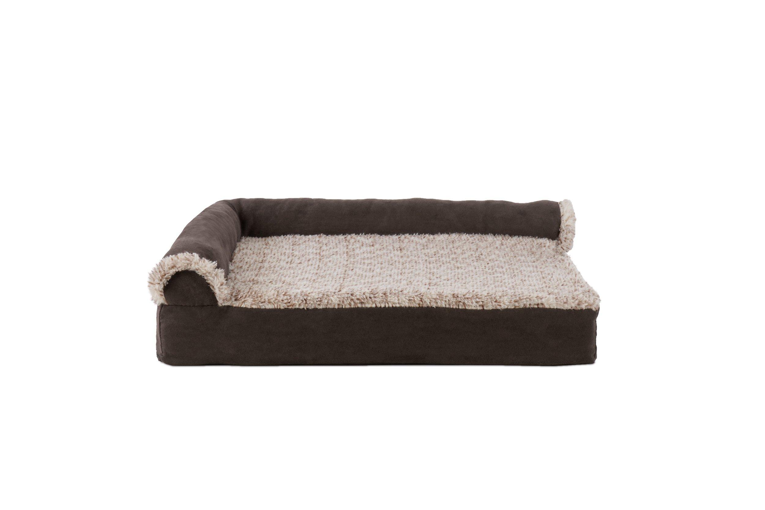 Furhaven Pet Deluxe Gel Foam Chaise Lounge Sofa Pet Bed, Small, Espresso