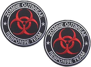 hfda 2 piezas bordado Zombie equipo de respuesta de brote ...