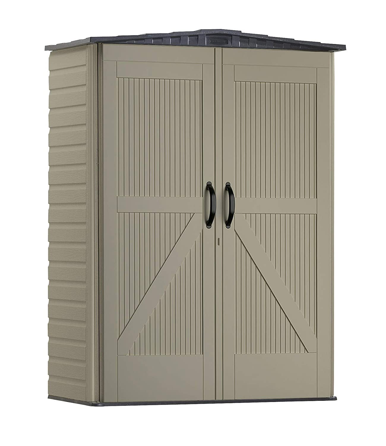 Rubbermaid Roughneck Storage Shed, 5x2, Faint Maple and Brown