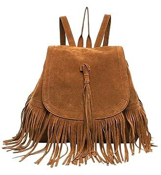 4ba2196dd61a2 BACKSPORT Damen Mädchen Fransentasche Daypacks Rucksack Schultertasche  Damentasche Shopper Fransen Quaste Retro ( A Braun