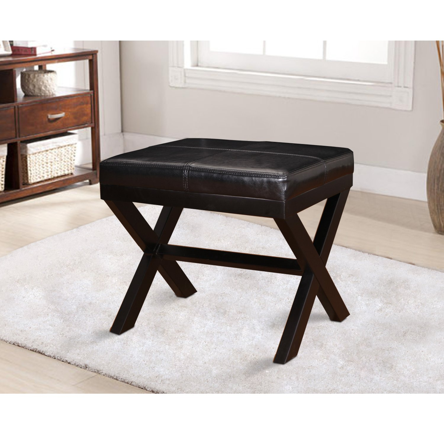 Adeco FT0010 Black Bonded Leather Contrast Stitch Ottoman x-Shaped Legs 19.25×16.5 Footstool Bench, 19-1 4 L 16-1 2 W 17-1 2 H,