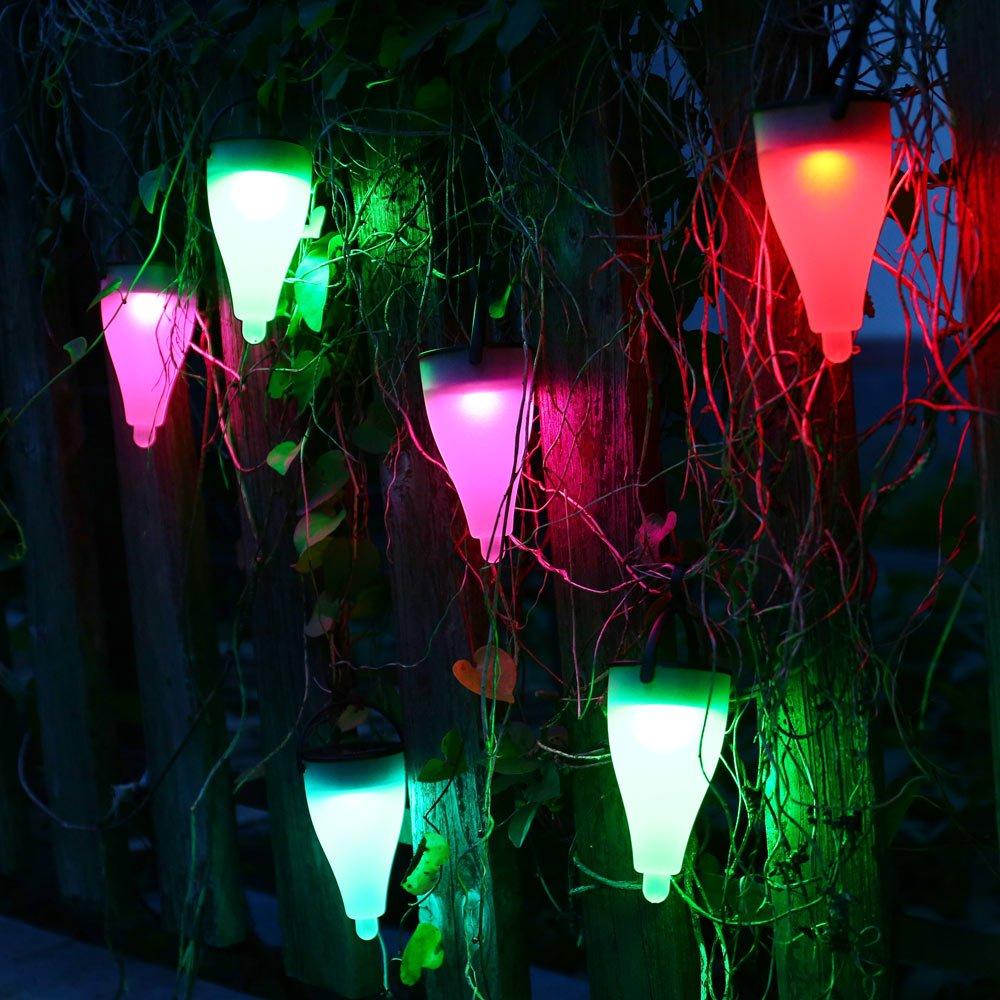 amazoncom qedertek solar garden lights 7 color solar light outdoor 3 lighting modes lawn light for pathway patio lawn fence yard and landscape