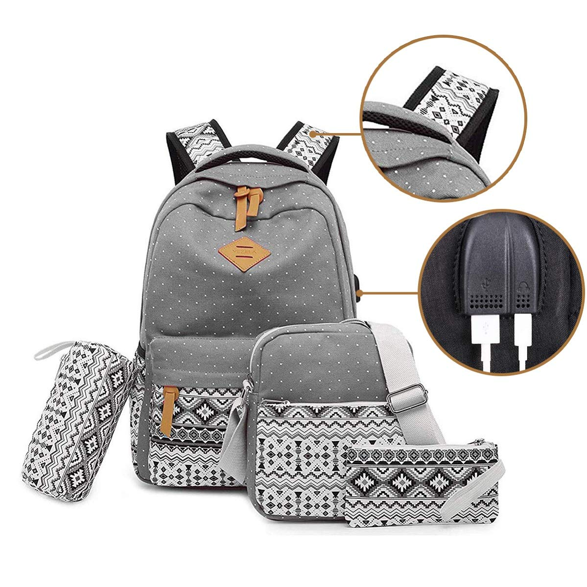 Vezela 4Pc Combo Of Laptop Bag With Usb Charging Feature With Lunch Bag, Pencil Case & Pouch (Grey) product image