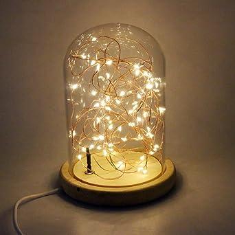 USUN Innen LED Draht Lichter, USB Nachtlichter Glasabdeckung Holz Basis  Tisch Schreibtischlampe Home Office Dekoration
