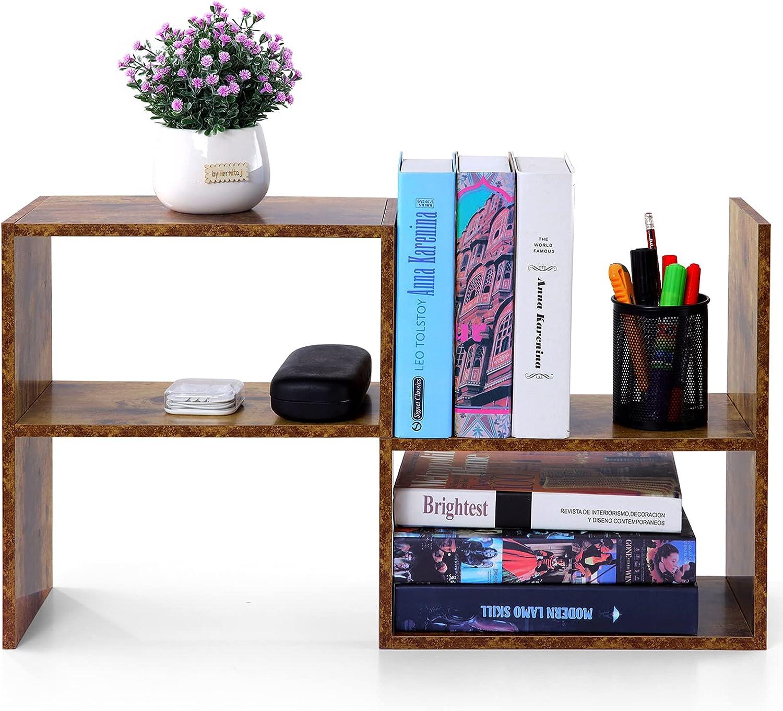 MASTLU Adjustable Wooden Desktop Bookshelf Desktop Organizer Display Shelf -Easy Installation Double 9 Style Free Style Rotation Display Office Decor Bookshelf