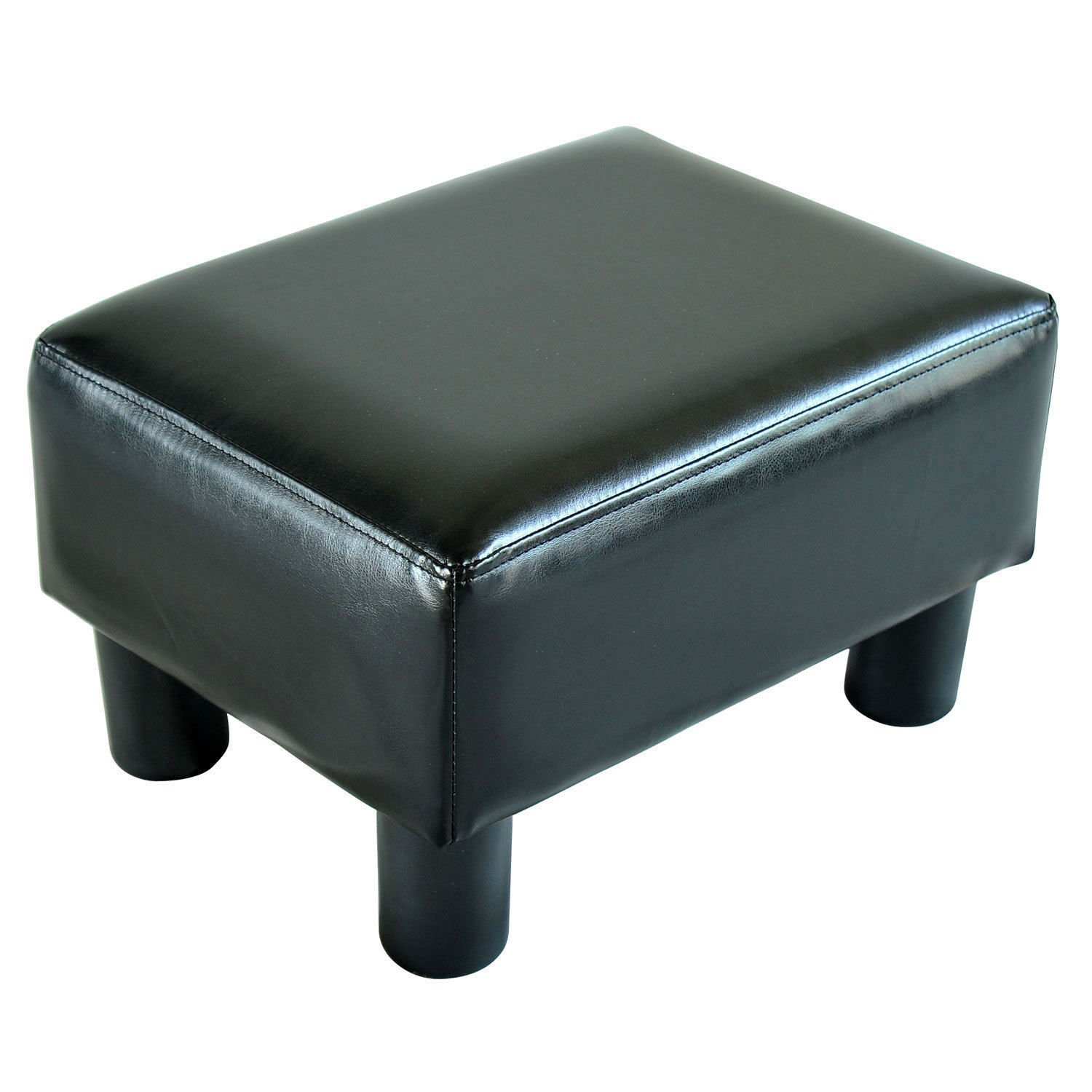 Black Small Ottoman Footrest PU Leather Footstool Rectangular Seat stool Easy to move