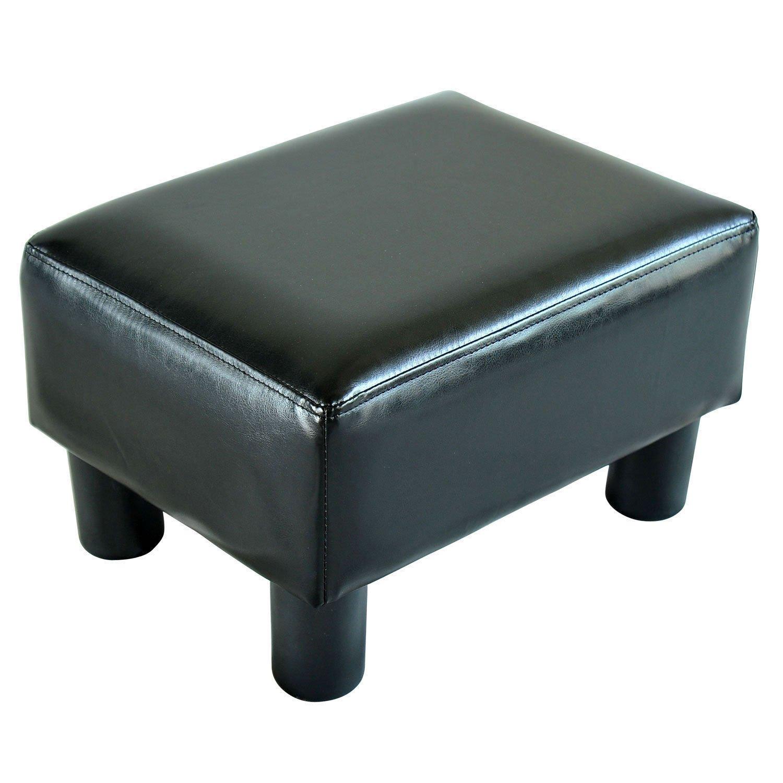 Homcom Modern Small Faux Leather Ottoman / Footrest Stool - Black