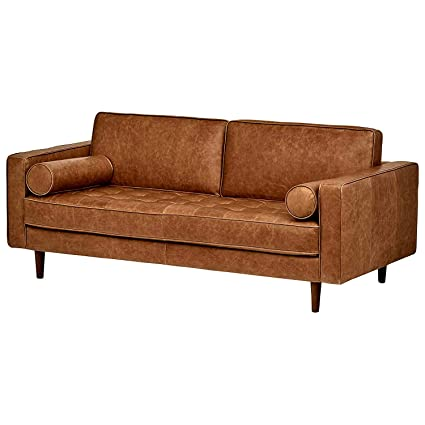 Brown Leather Sofa Couch For 2 Padded Cushions Back Armrests Tufted Design  Stylish Modern Wooden Legs