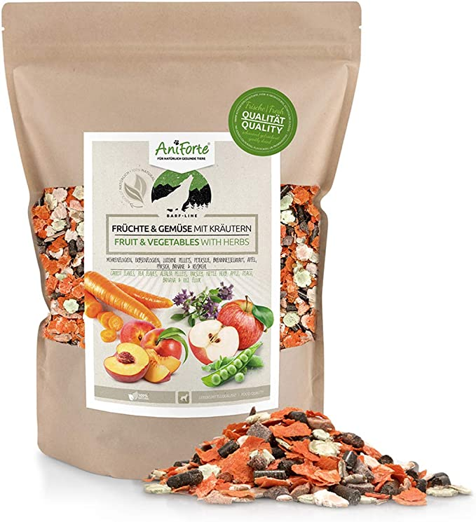 AniForte Frutas y Verduras con Hierbas para Perros 1kg - 100 % Producto Natural, Alimento suplementario, Aditivo Barf, sin Gluten, Copos sin aditivos ...