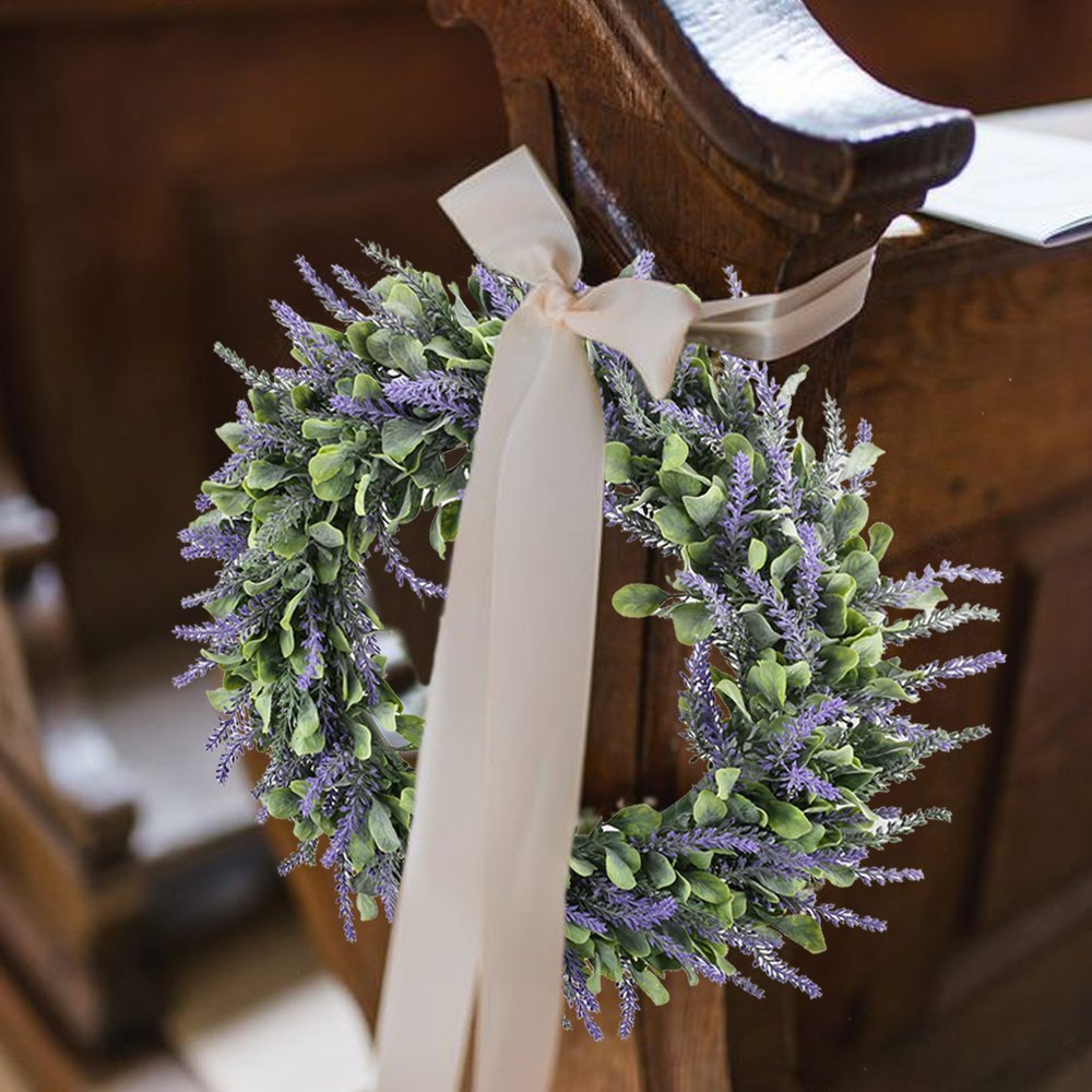 Evoio Artificial Lavender, 17'' Wreath DIY Silk Flowers Garland Pendant for Front Door Wall Home Wedding Decoration- purple by Evoio (Image #6)