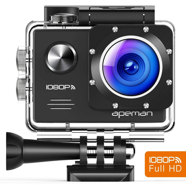 Apeman A70 Aktion und Sport Kamera mit 2 1050mAh Akkus und Accessoires (14 MP, 1080P FULL HD, WiFi, 30 m wasserdicht) 1080P FULL HD v-1