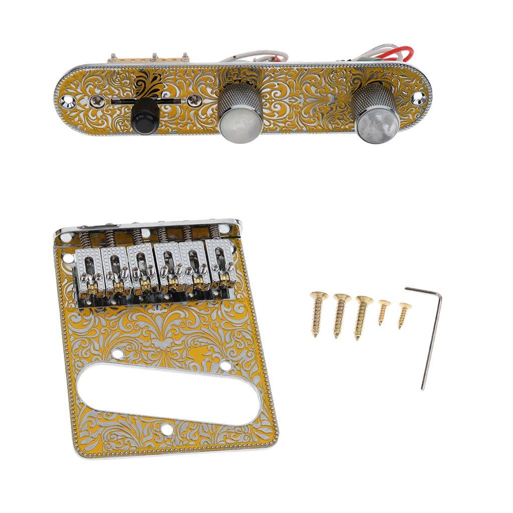 B Blesiya Guitar Prewired Control Plate Guitar Bridge Baseplate Screrws Wrench Set for Telecaster Electric Guitar