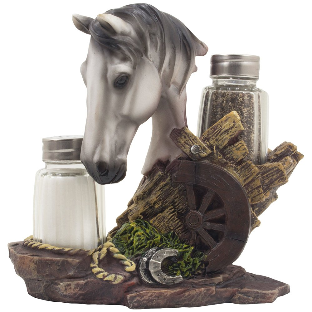 White Stallion Salt and Pepper Set with Decorative Spice Rack Holder Pony Sculpture for Stud Farm Decor and Rustic Country Western Dining Room Table Decorations As Gifts for Horse Lovers
