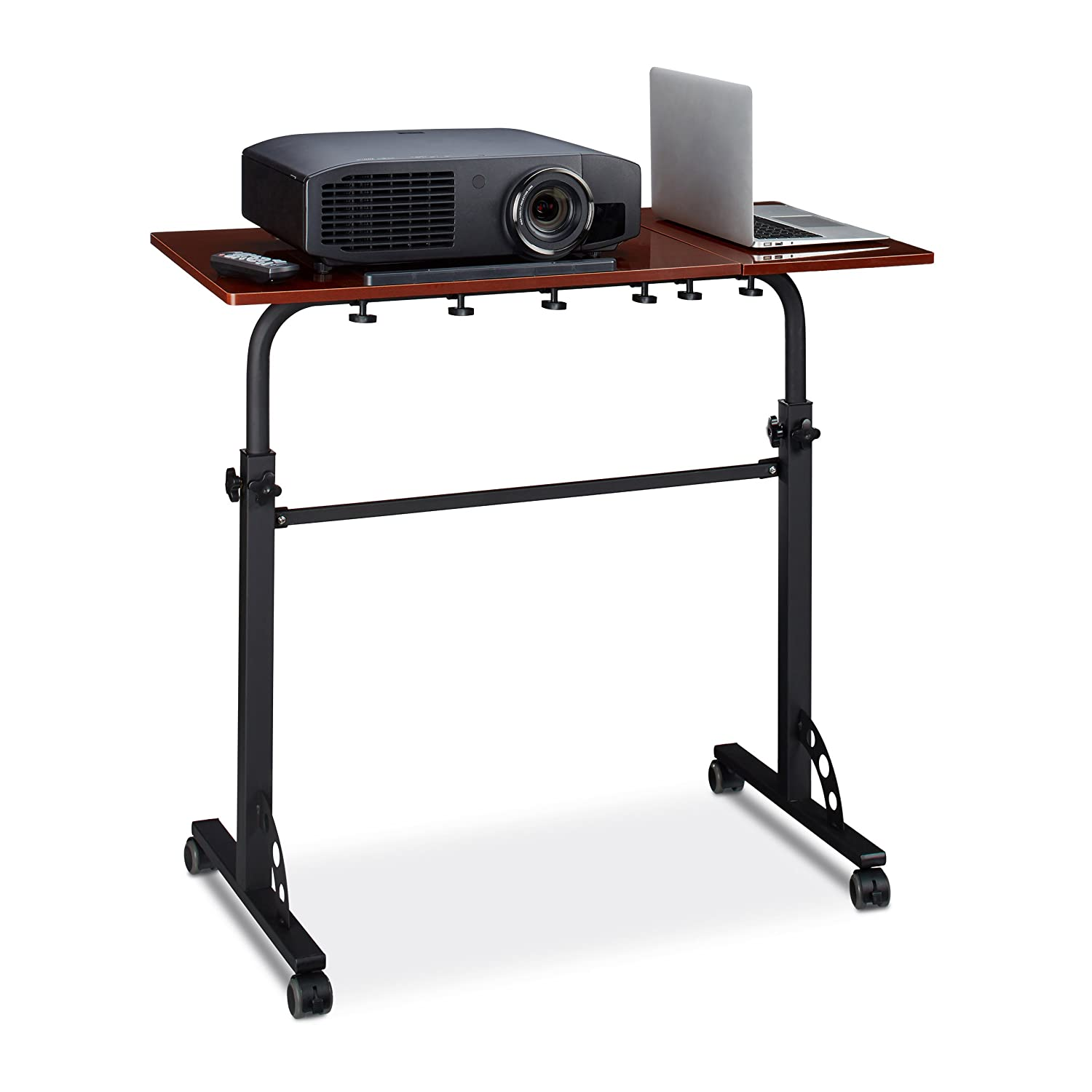 Relaxdays XXL Laptop Table Height Adjustable, 110 x 100 x 50 cm, Wood, Mobile Lecturn, Wheels with Brakes, Notebooks, Projecters, Laptops, 2 Surfaces, Ebony Black 10020807_46