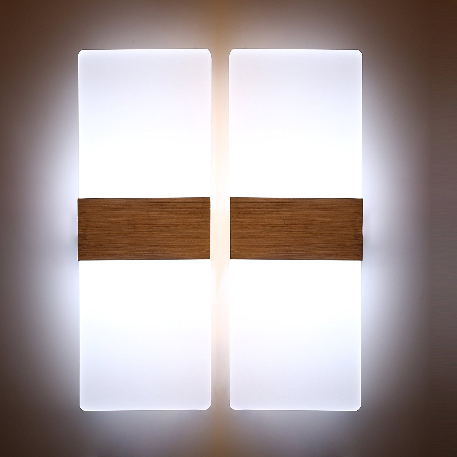 Glighone 2-Pack Up and Down Wall Lights Modern Wall Light Acrylic Wall Sconce for Dinning Room Living Room Corridor Hallway 2*12W Cool White [Energy Class A++]
