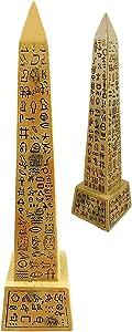 "Ebros Egyptian Temple of Ra Desert Obelisk with Hieroglyphs Statue 8"" Tall Ancient Egypt Landmark Obelisks Pillar Tower Figurine (Sandstone Brown)"