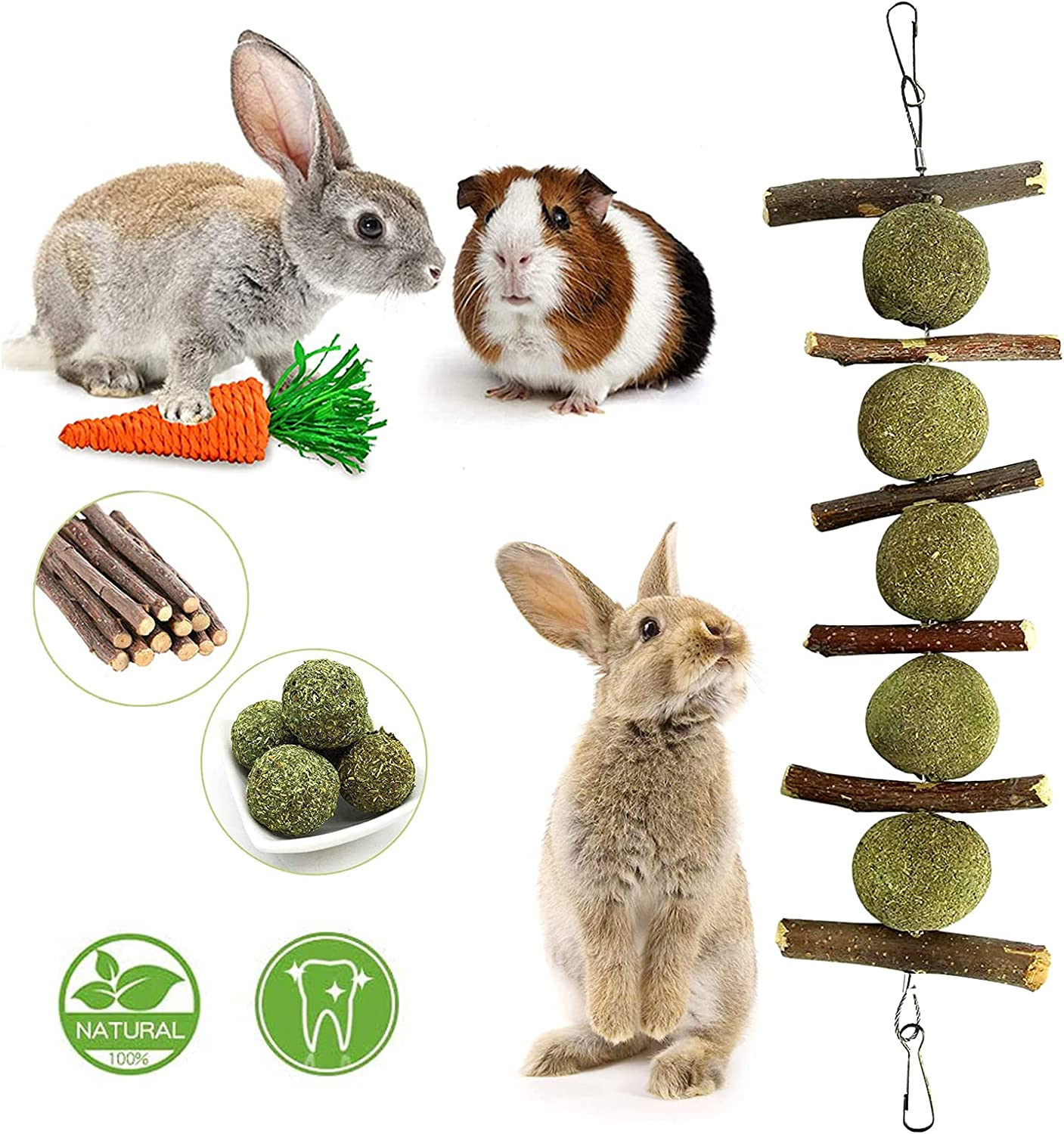 Rabbit Toys, Bunny Chew Toy for Teeth & Gnawing Treats, 100% Natural Organic Wood Apple Sticks and Timothy Hay Balls, Carrot Toys for Rabbit, Bunny,Chinchillas, Guinea Pigs, Hamsters, Rodent