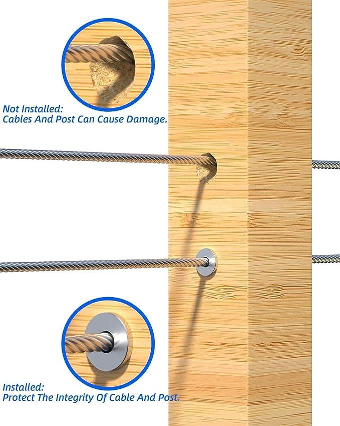 bricolage Balustrade T316 Marine Grade Manchons de protection en acier inoxydable pour c/âble de pont 1//8 pouces pour poteaux en bois