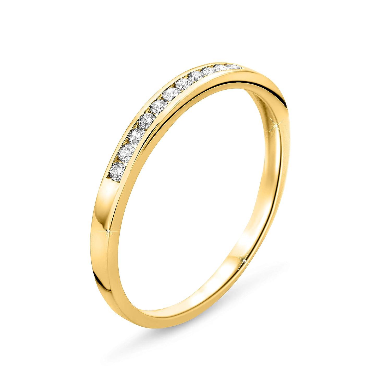 Bague /Éternit/é en Or Jaune avec Diamants 0.1 Ct coup/é Brillant 9 Kt 375 Or Orovi Bijoux Femme