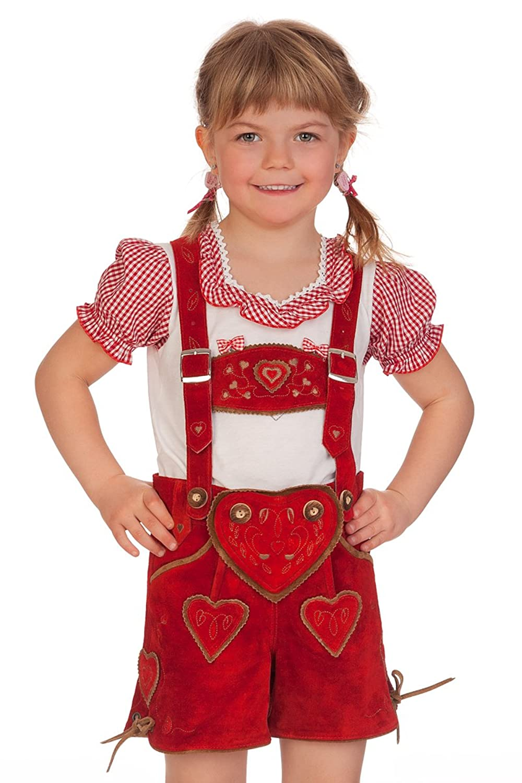 Kinder Lederhose kurz - HERZIG - rot