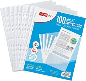 Sheet Protectors, Holds 8.5 x 11 inch Sheets, 9.25 x 11.25 inch Top Loading, Clear, Reinforced 11-Hole, Acid-Free, Archival Safe for Documents and Photos (100 Sheets)