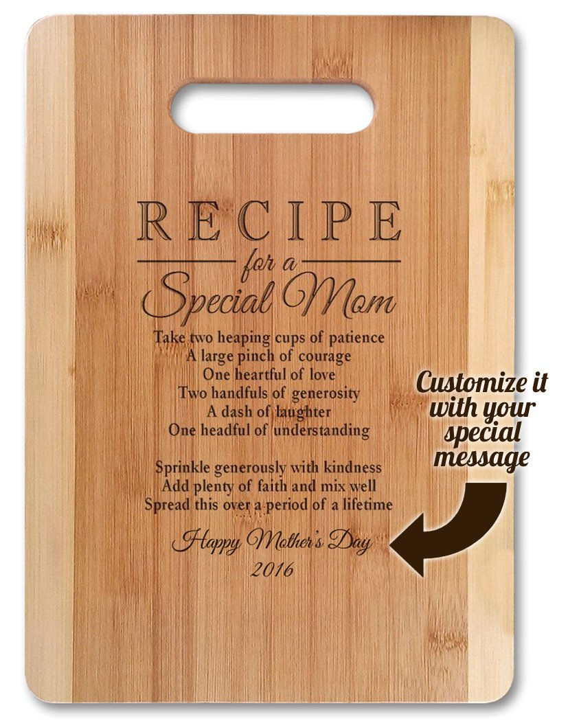 Mothers Day Gift Recipe for a Special Mom (Medium 13''x9.5'', Customized) Bamboo Serving Cutting Board for Mothers Day Birthday or Christmas