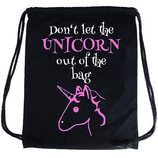 5 opinioni per PREMYO Sacca zaino di cotone nera con Unicorno rosa e scritta divertente.
