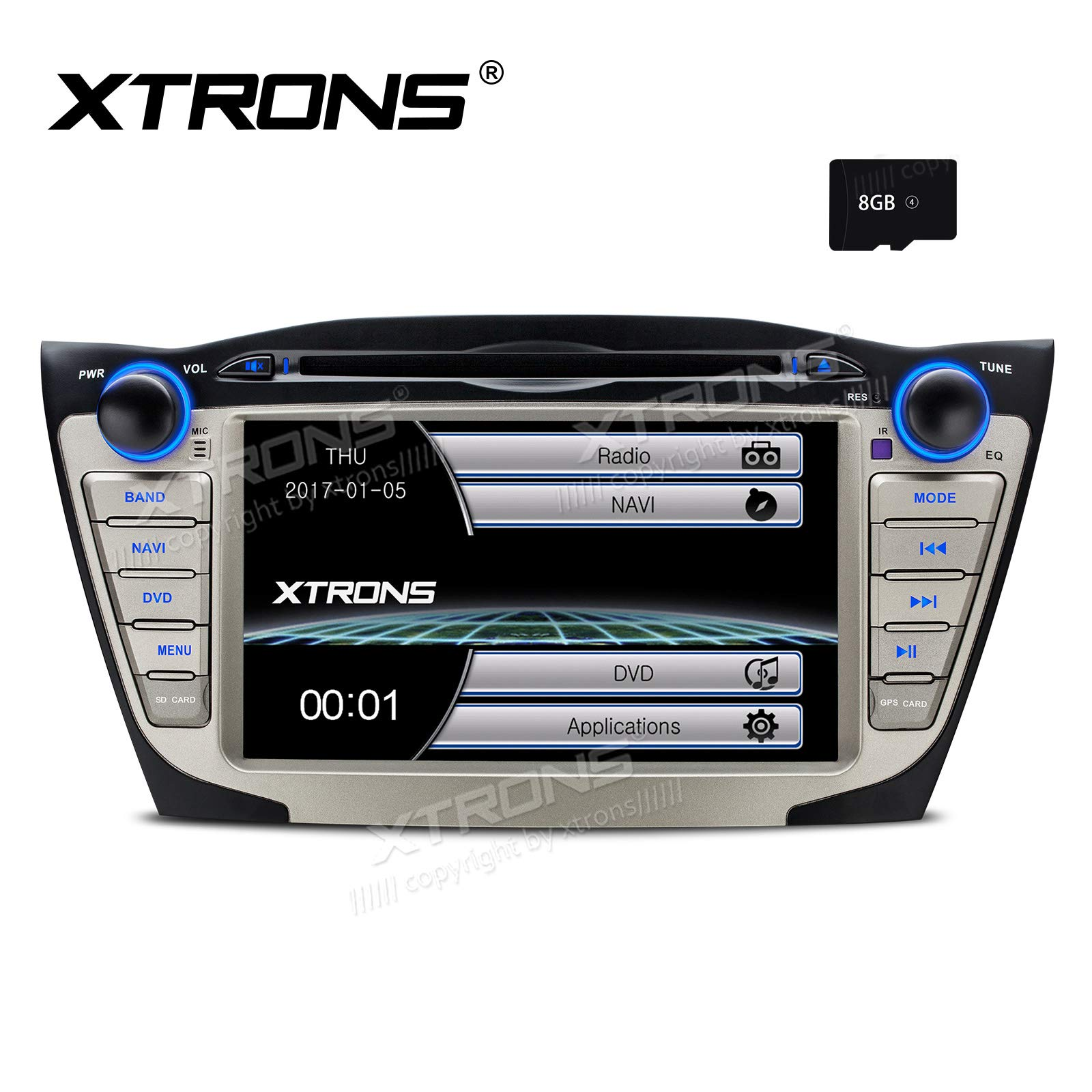 XTRONS 7 Inch HD Digital Touch Screen Car Stereo Radio in-Dash DVD Player GPS Navigation Screen Mirroring Function for Hyundai Tucson ix35