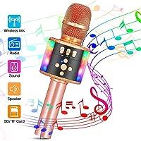 SGODDE Micrófono Karaoke Bluetooth, 4 en1 Microfono Inalámbrico Karaoke Portátil, Adecuado para Niños Cantando y Grabaciones, Compatible PC/iPad/iPhone/Smartphone, (Color Oro Rosa)